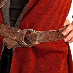 Distressed brown cowhide belt