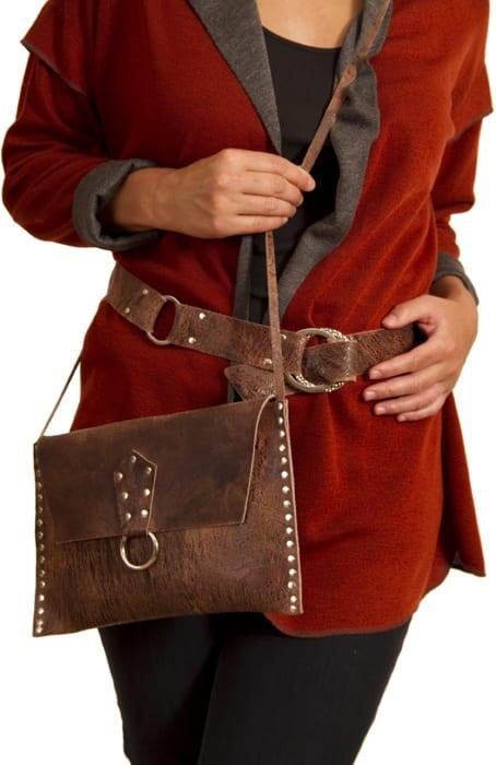 Distressed brown cowhide crossbody purse