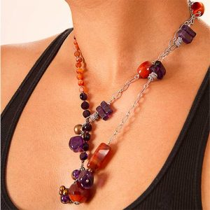 Asymmetrical carnelian amethyst necklace