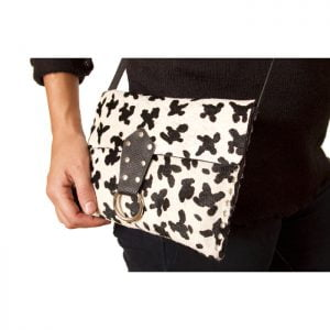Black white hair on leather purse