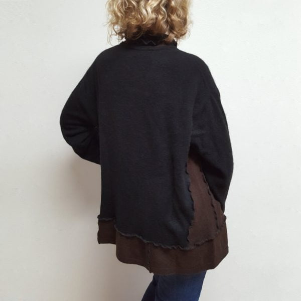 Black brown reclaimed cashmere sweater