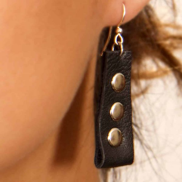 Black leather with silver rivets earrings