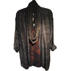Black mesh silk cardigan jacket