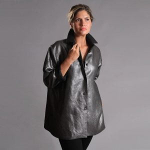 Black silver linen shirt jacket