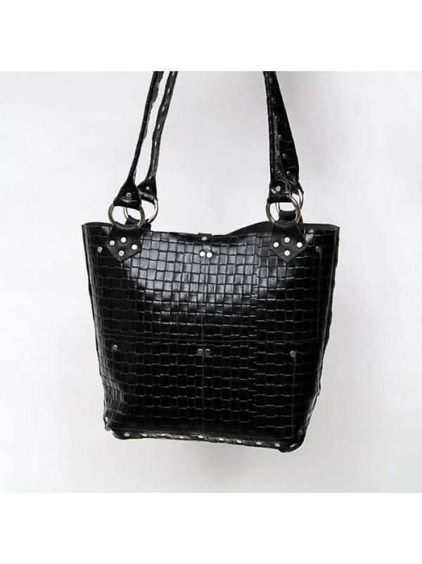 Black white hair on cowhide tote bag