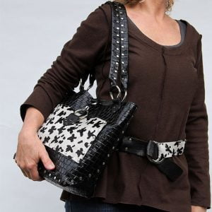 Black white hair on leather tote bag