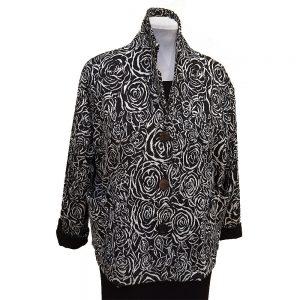 Black white rose knit jacket