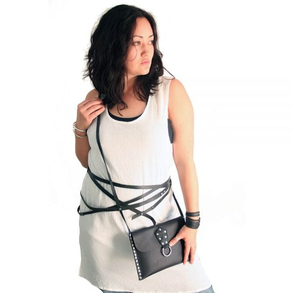 Black leather wrap belt with purse