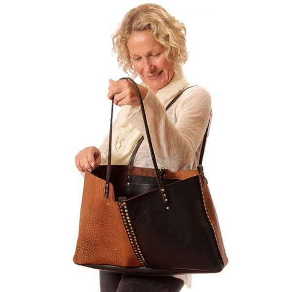 Large brown black leather tote bag