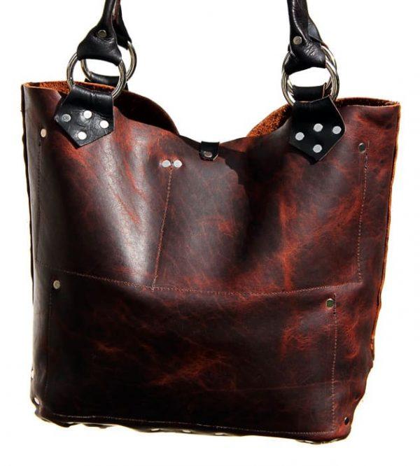 Brown black cowhide tote bag