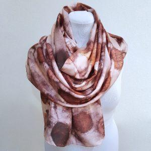 Eco printed silk scarf with smokebush