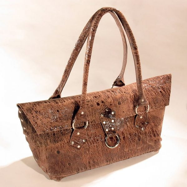 Distressed brown leather cowhide purse