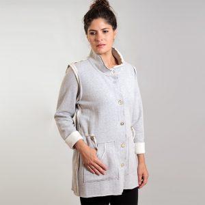 Grey cotton fleece drawstring jacket