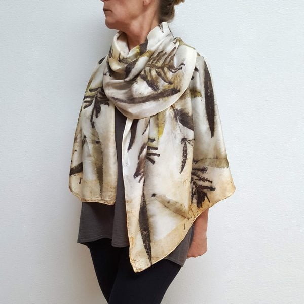 Fireweed eco dyed silk scarf (one-of-a-kind)