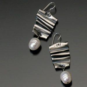 Freeform sterling earrings with pearl dangle