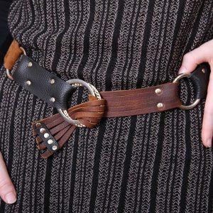 Black brown leather belt