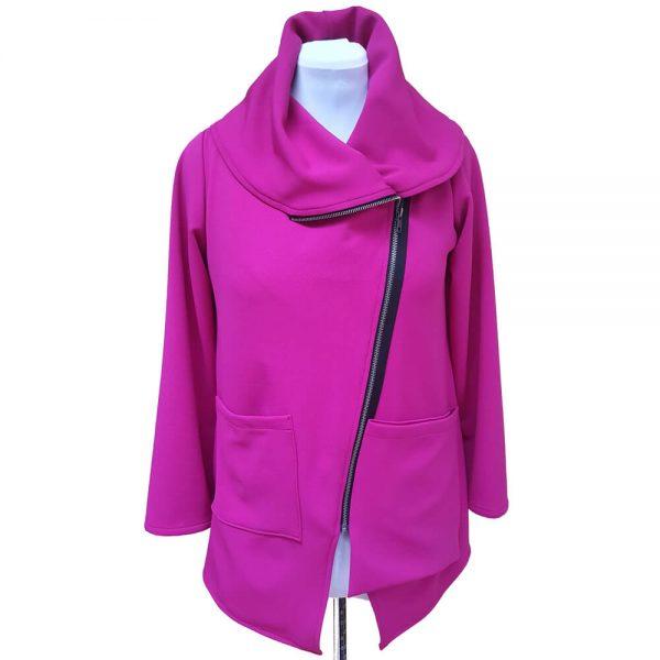 Pink asymmetrical zipper jacket