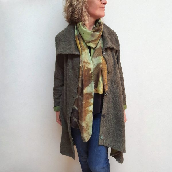 Long green fleece jacket