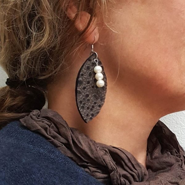 Johanna Gaines leather leaf earrings