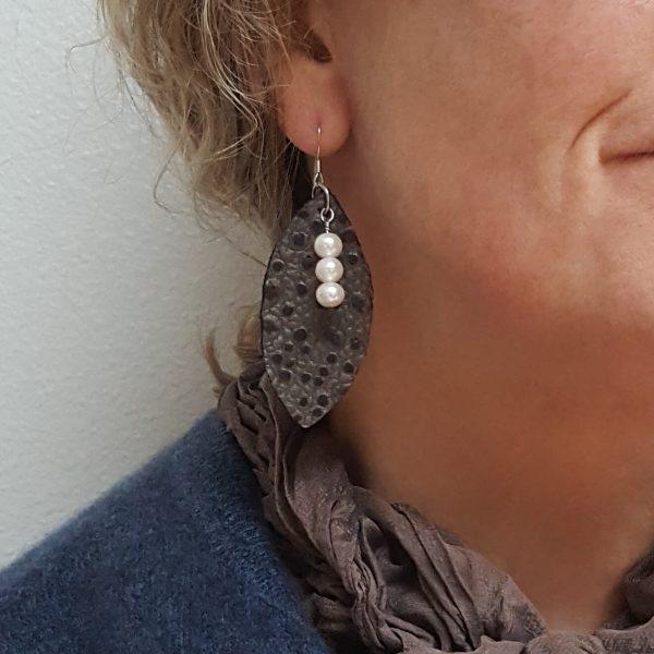 Johanna Gaines leather leaf earring