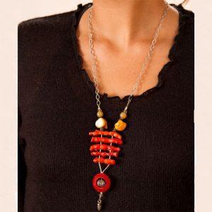 Long coral pendant necklace