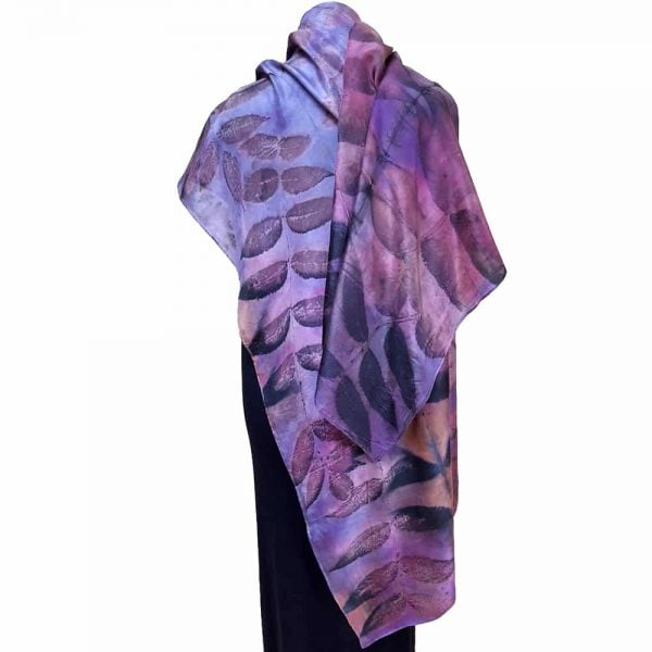Eco-dyed silk scarf with black walnut on blue and purple