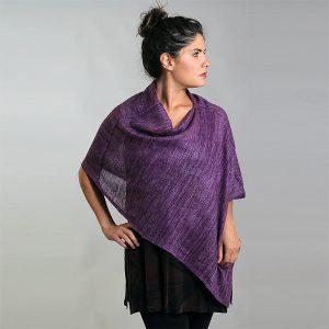 Purple mesh silk asymmetrical shawl