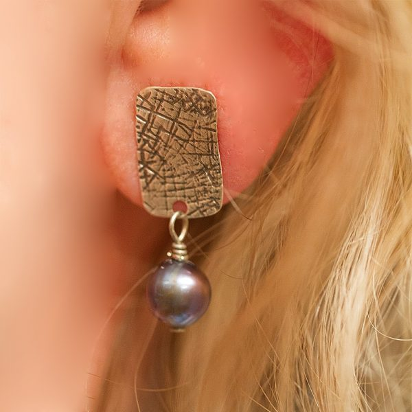 Sterling post with pearl dangle earrings