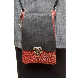 Red black leather cellphone purse