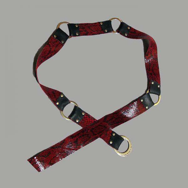Black red cowhide reversible belt