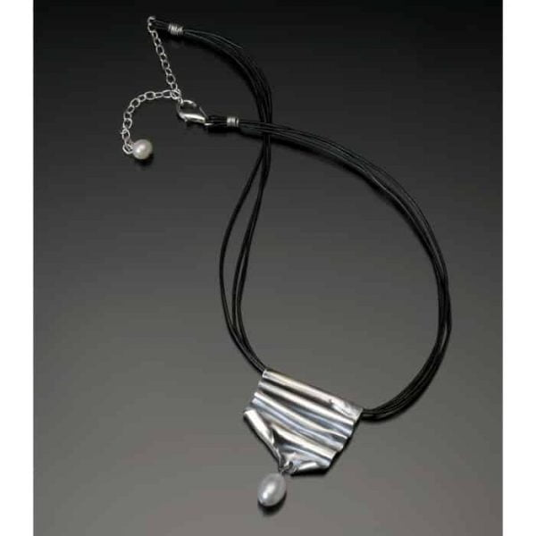 Freeform sterling with pearl pendant necklace