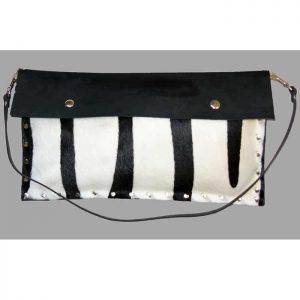 Black white hair on cowhide clutch bag