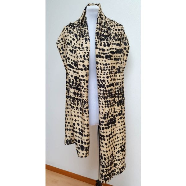 Silk viscose sand black scarf