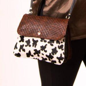 Tricolor cowhide purse