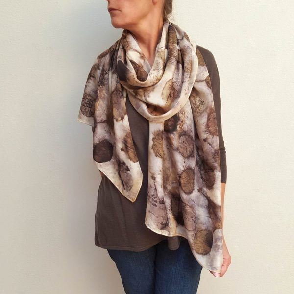 Smokebush eco dyed silk scarf (one-of-a-kind)