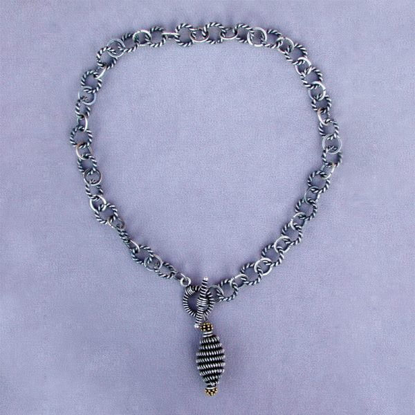 Sterling handwrapped pendant necklace