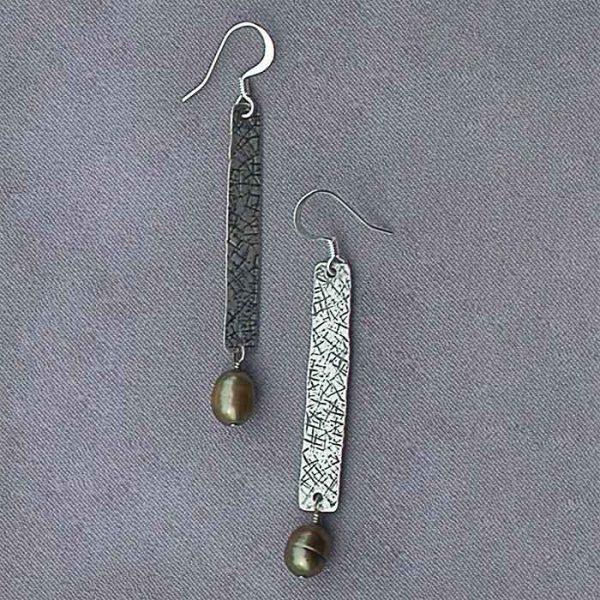 Long sterling with pearl earrings