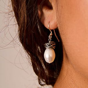 Hand wrapped sterling silver pearl earring