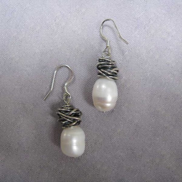 Hand wrapped sterling silver pearl earrings