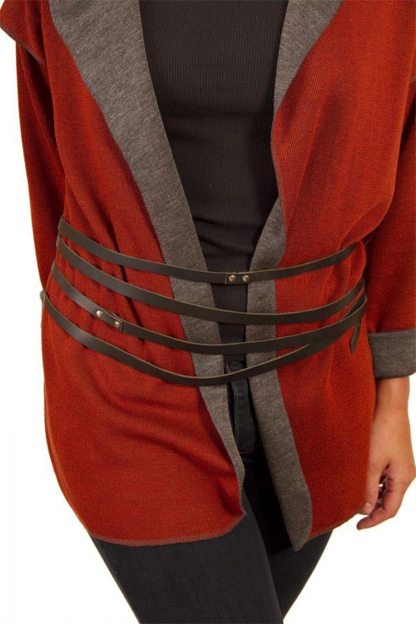 Black leather wrap belt