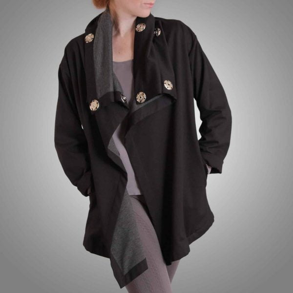 Black yoga jacket with large silver snaps