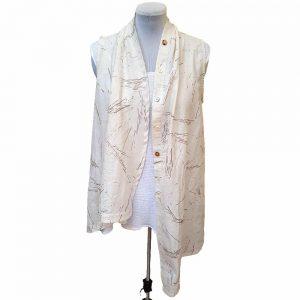 Cream asymmetrical cotton vest