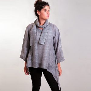 Silver asymmetrical mesh silk tunic