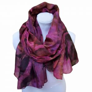 Eco dyed black walnut on pink large silk scarf