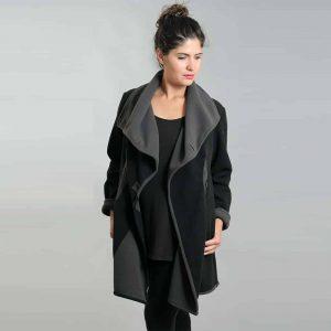 Black grey fleece drape jacket