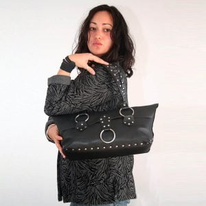 Black leather silver riveted purse