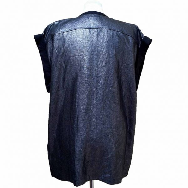 Black silver linen vest