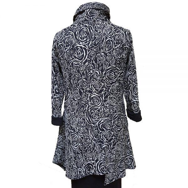 Black white long asymmetrical jacket
