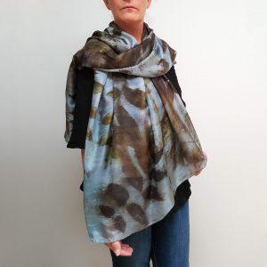 Black walnut on blue eco dyed silk scarf (one-of-a-kind)
