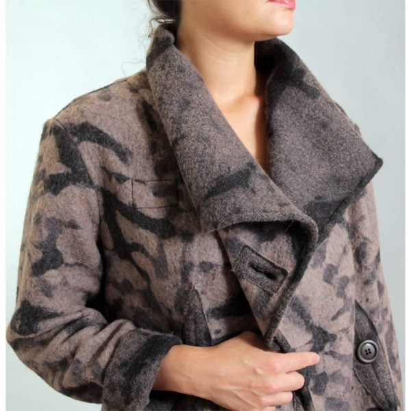 Brown black hand dyed wool jacket